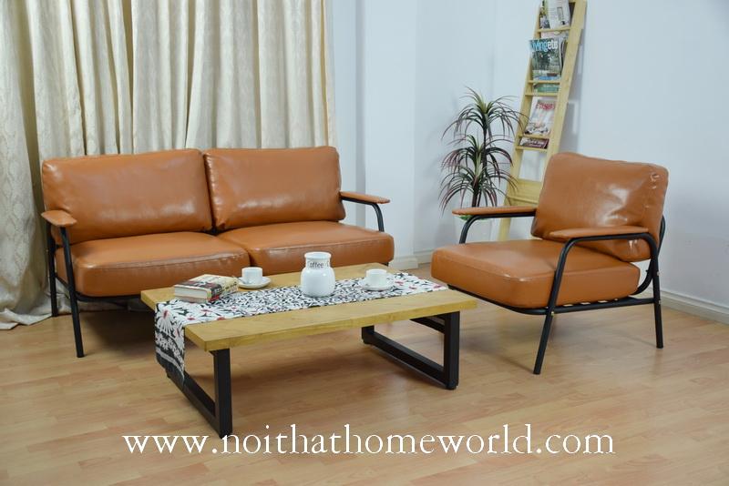 Sofa khung sắt nệm bọc giả da sang trọng,bảo hành 1 năm lỗi kỹ thuật-Nội thất Homeworld
